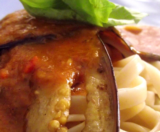 sliced eggplant fritter pasta